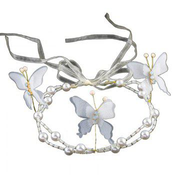 White Red Pearl Crystal Butterfly Shape Headband for Women Wedding Hair Jewelry - WHITE WHITE