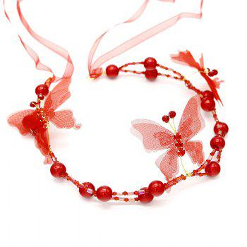 White Red Pearl Crystal Butterfly Shape Headband for Women Wedding Hair Jewelry - RED RED