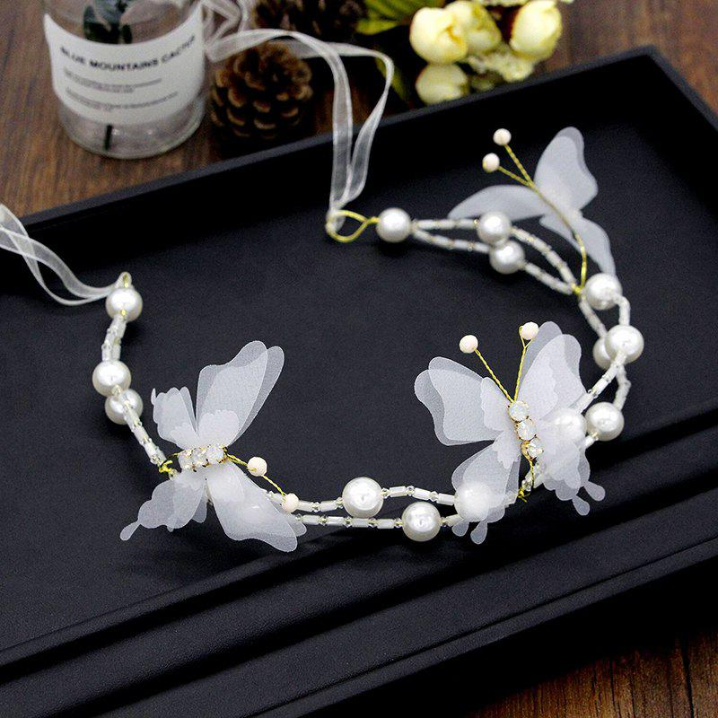 White Red Pearl Crystal Butterfly Shape Headband for Women Wedding Hair Jewelry - WHITE