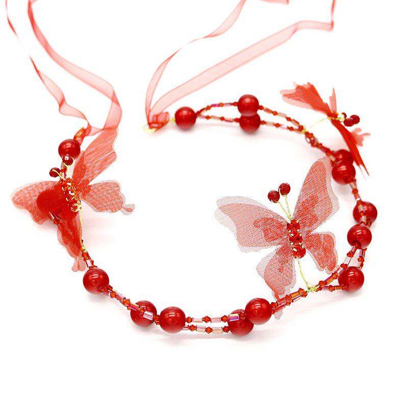 White Red Pearl Crystal Butterfly Shape Headband for Women Wedding Hair Jewelry - RED