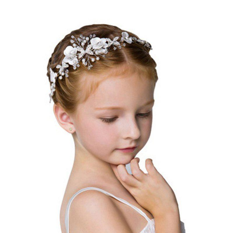 White Fabric Flower Butterfly Alloy Headband Hair Jewelry for Women Flower Girl - WHITE