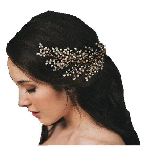 Gold and Silver Full Pearl Leaf Shape Hairpin Hair Jewelry for Wedding Party - GOLD