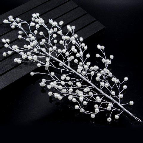 Gold and Silver Full Pearl Leaf Shape Hairpin Hair Jewelry for Wedding Party - SILVER