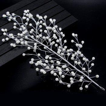 Gold and Silver Full Pearl Leaf Shape Hairpin Hair Jewelry for Wedding Party - SILVER SILVER