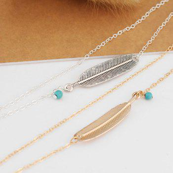 Vintage Multi-Layered Foot Anklet Blue Turquoise Feather - GOLDEN