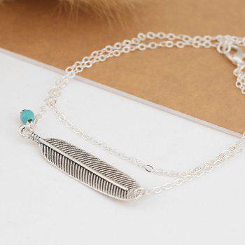 Vintage Multi-Layered Foot Anklet Blue Turquoise Feather - SILVER