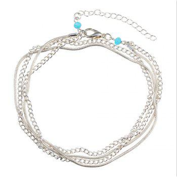 National Wind New Wild Multi-Layered Vintage Anklet - SILVER SILVER
