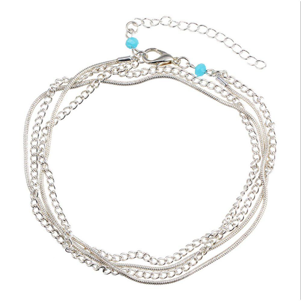 National Wind New Wild Multi-Layered Vintage Anklet - SILVER