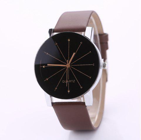 PU Belt Casual Couple Watches - BROWN S