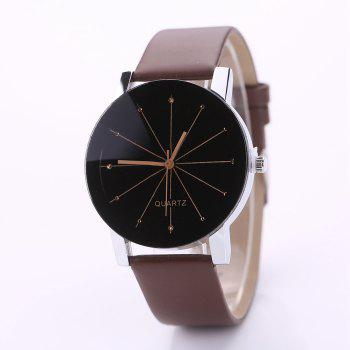 PU Belt Casual Couple Watches - BROWN BROWN