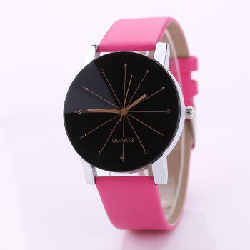 PU Belt Casual Couple Watches - ROSE RED ROSE RED