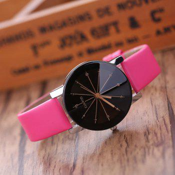 PU Belt Casual Couple Watches - ROSE RED M