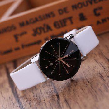 PU Belt Casual Couple Watches - WHITE WHITE