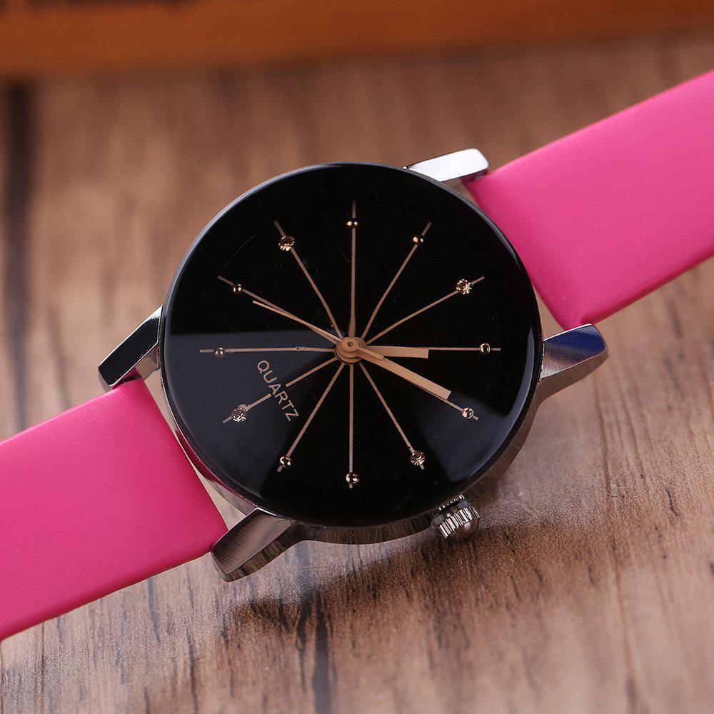 PU Belt Casual Couple Watches - ROSE RED S