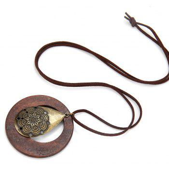 Fashion Ornaments Real Wood Water Dripping Chain Necklace - BROWNIE