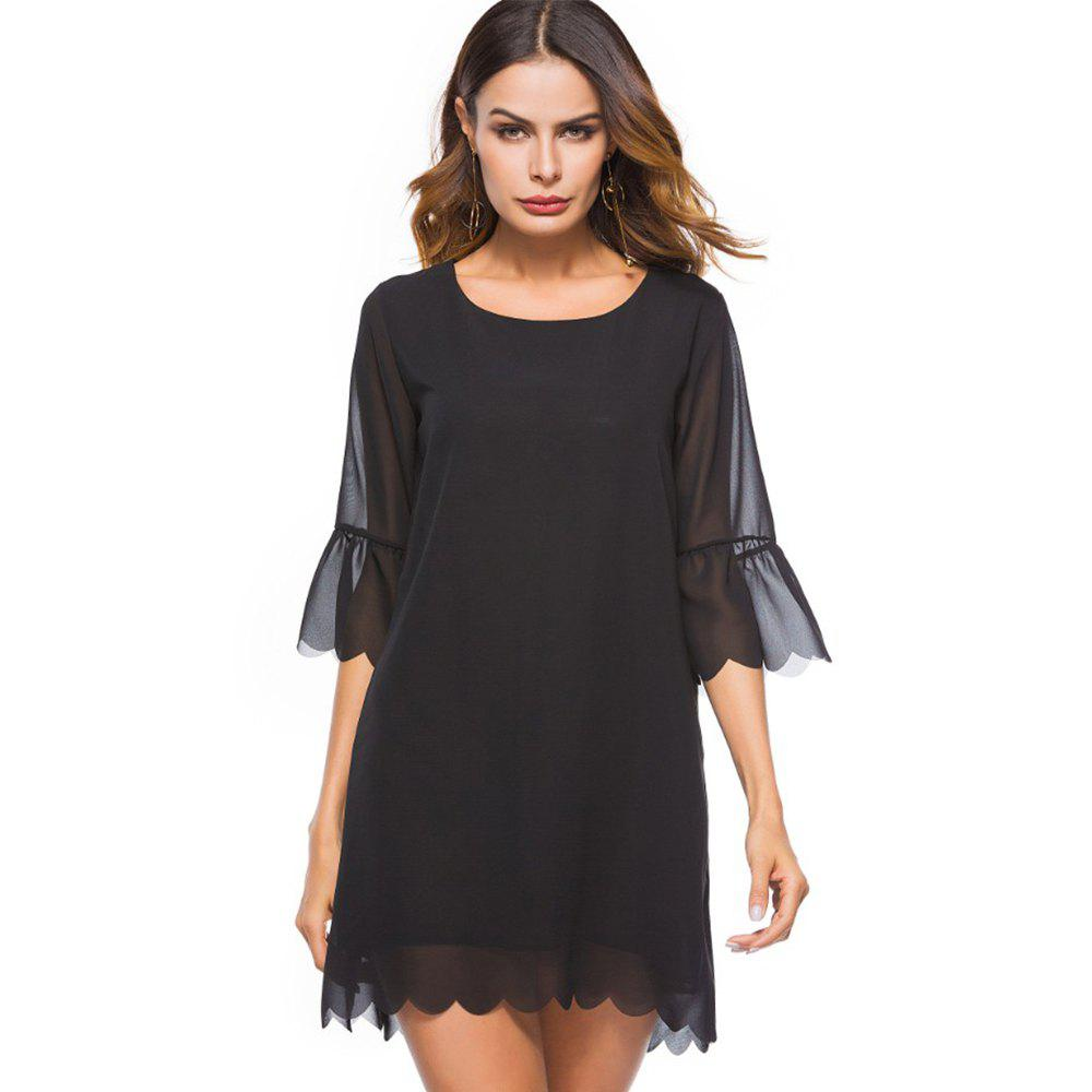 Spring New Fashion Loose Chiffon Plain Dress - BLACK XL
