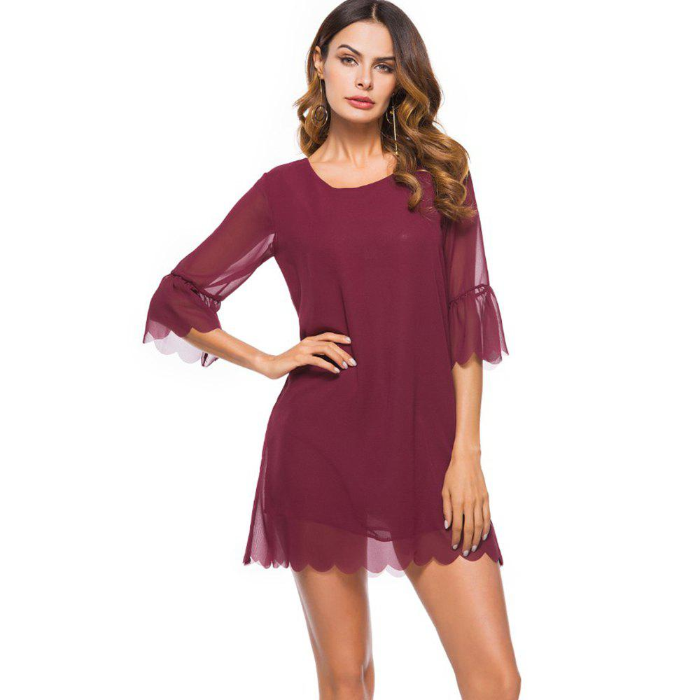 Spring New Fashion Loose Chiffon Plain Dress - BURGUNDY 2XL