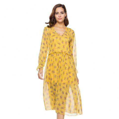 New Two-piece Long-sleeved Small Floral Long Dresses - YELLOW S