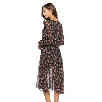 Spring New Two-piece Long-sleeved Small Floral Long Fashion Dresses - BLACK L