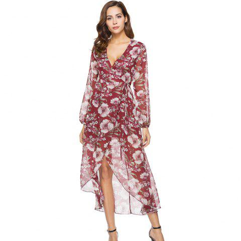 Spring New Long Sleeve Loose Casual Floral Printed Dress - RED L
