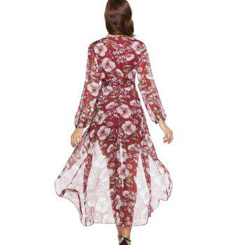 Spring New Long Sleeve Loose Casual Floral Printed Dress - RED M