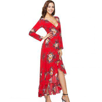 New V-neck Long Sleeve Pleated Fishtail Casual Dress - RED M