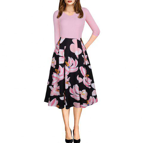 Spring Autumn 3/4 Sleeve Fashion Floral Printed Dress - PINK L