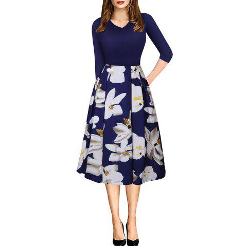 Printemps Automne 3/4 Manches Fashion Floral Imprimé Dress - Bleu L