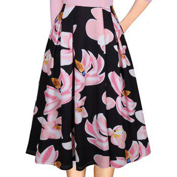 Spring Autumn 3/4 Sleeve Fashion Floral Printed Dress - PINK XL