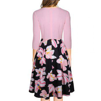Spring Autumn 3/4 Sleeve Fashion Floral Printed Dress - PINK S