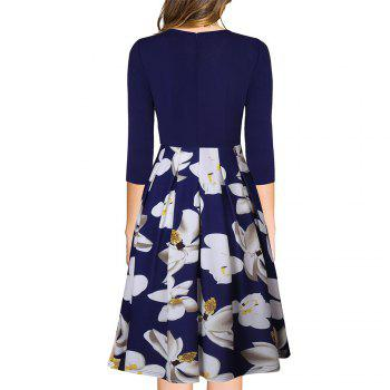 Spring Autumn 3/4 Sleeve Fashion Floral Printed Dress - BLUE S