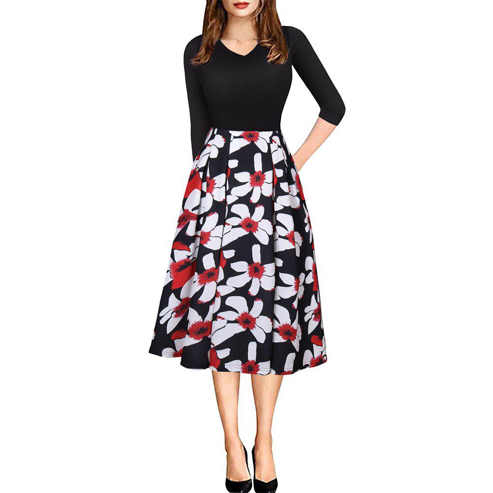 Spring Autumn 3/4 Sleeve Fashion Floral Printed Dress - BLACK M