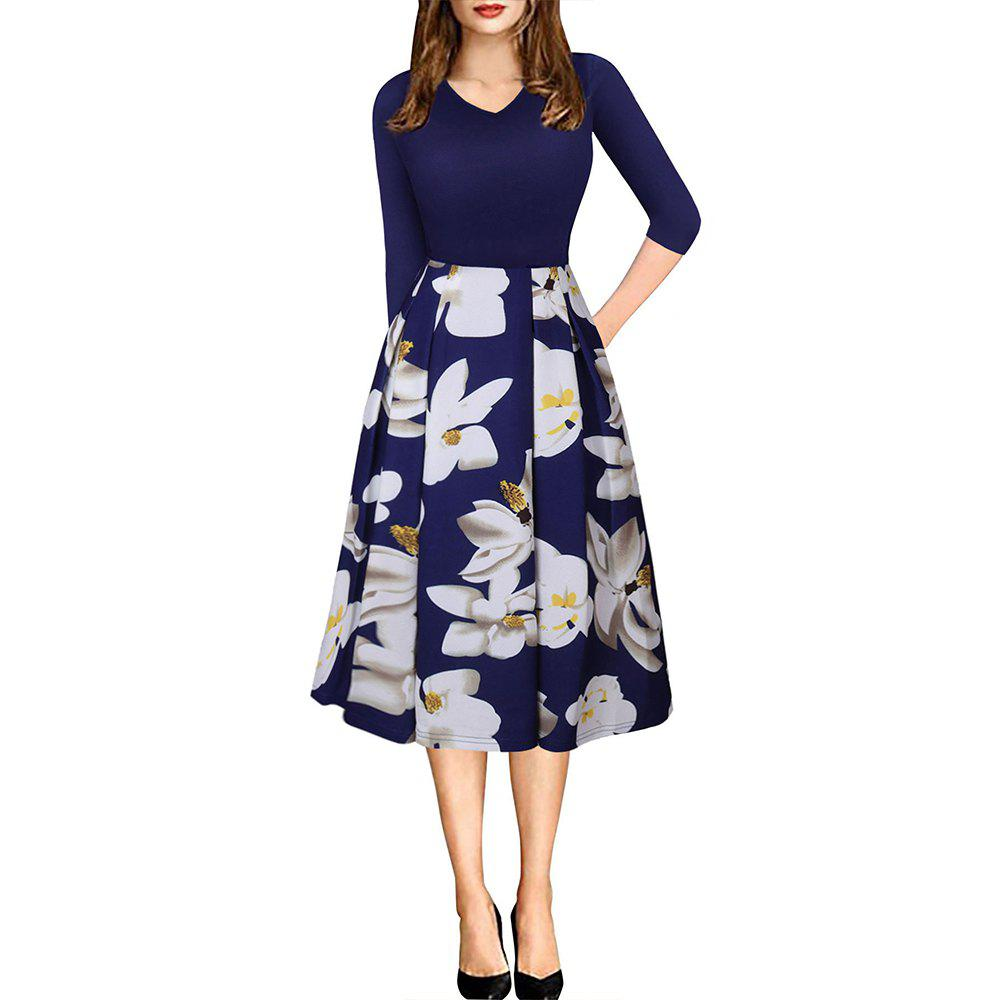Spring Autumn 3/4 Sleeve Fashion Floral Printed Dress - BLUE M