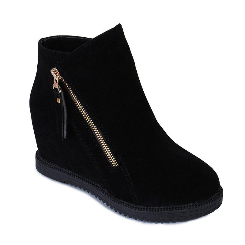 Gray Zipper Suede Ankle Slip-On Women Boots thumbnail
