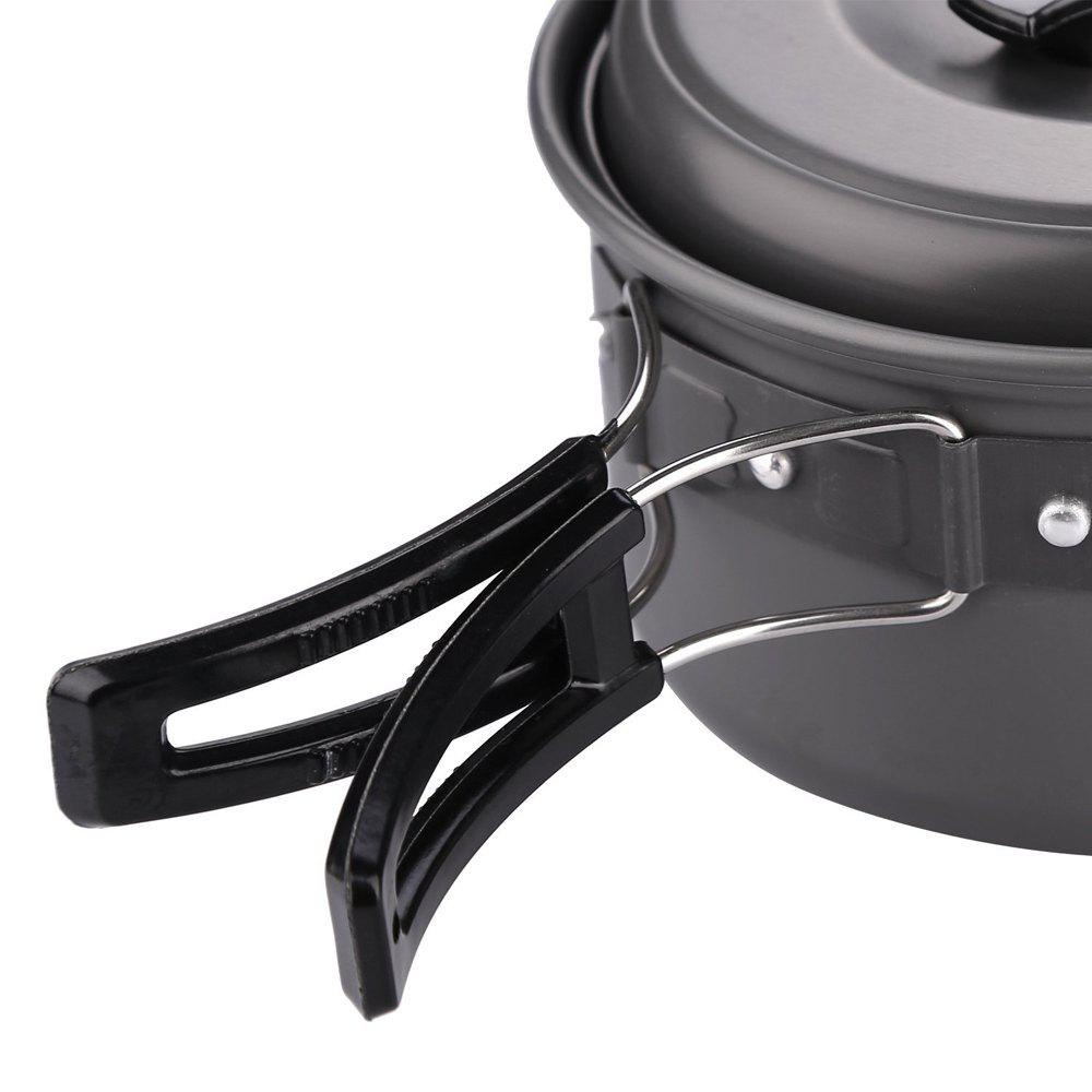 Outdoor Cookware Set Cooking Utensils Lightweight Compact Pot Pan Bowls for Camping Hiking Backpacking and Picnic - BLACK