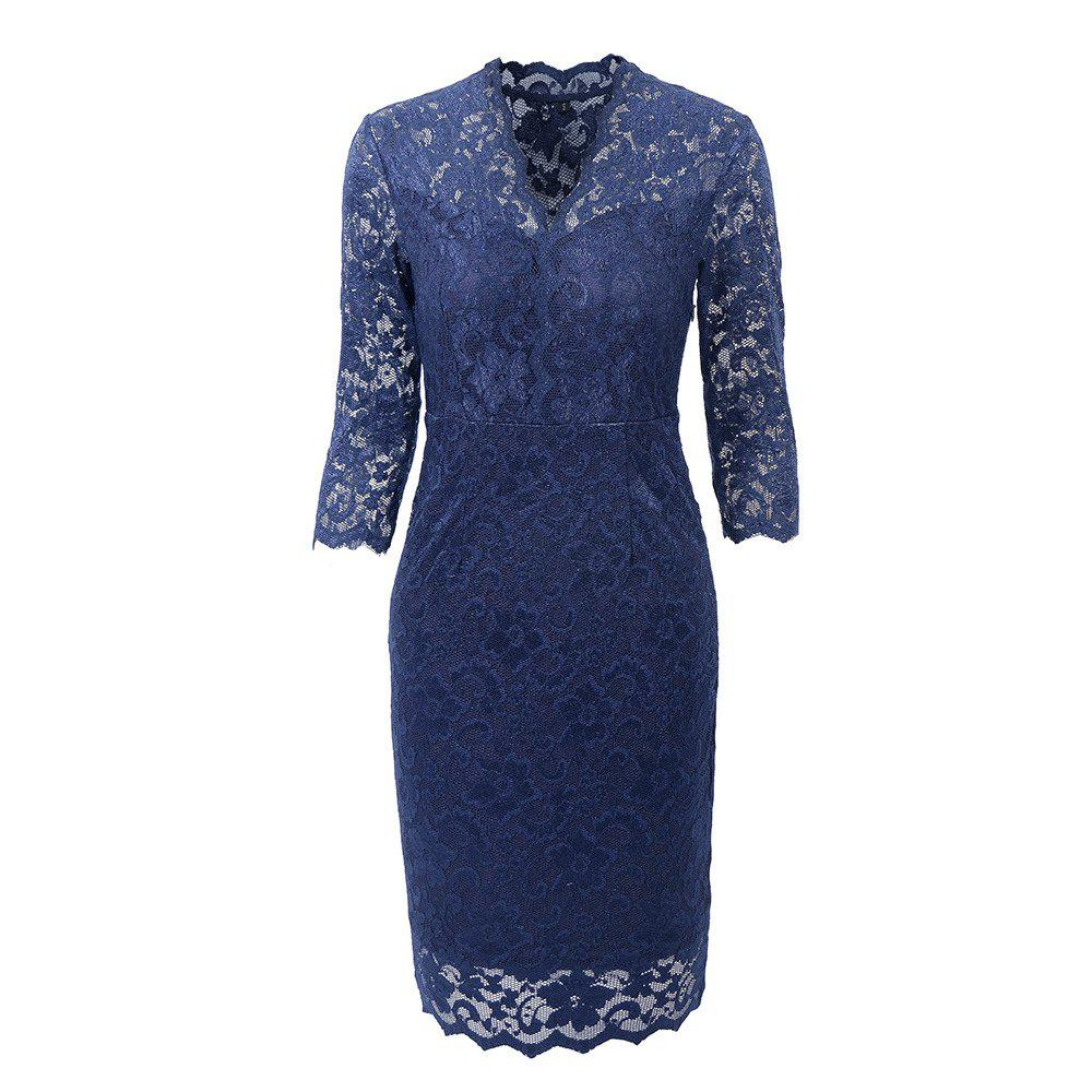 Hot Sale 2018 Embroidery  Women 3/4 Sleeve Casual Evening Party Lace  Sheath Shift   Dress - NAVY BLUE S