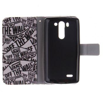 Cover Case For LG G3 Mini Cartoon Characters PU+TPU Leather with Stand and Card Slots Magnetic Closure - BLACK