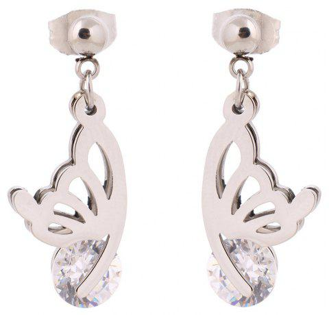 New Fashion Ol Butterfly Crystal Titanium Steel Wild Jewelry Earrings - SILVER