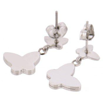 Ethnic Lovely Butterfly Lady New Simple Titanium Steel Earrings - SILVER