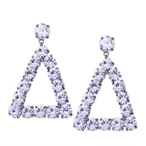 Geometric Triangle Alloy Rhinestone Earrings - WHITE