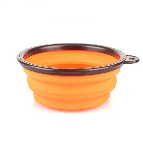Collapsible Dog Bowl Food Grade Silicone Foldable Pet Bowl for Feeding - ORANGE