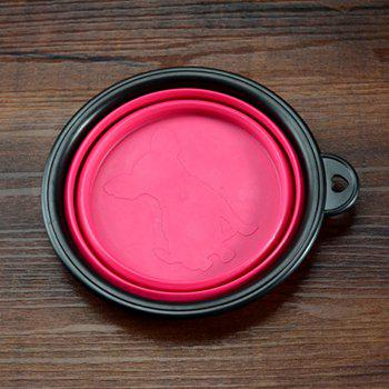 Collapsible Dog Bowl Food Grade Silicone Foldable Pet Bowl for Feeding -  PINK