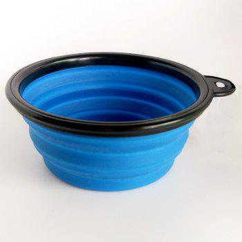 Collapsible Dog Bowl Food Grade Silicone Foldable Pet Bowl for Feeding - BLUE BLUE