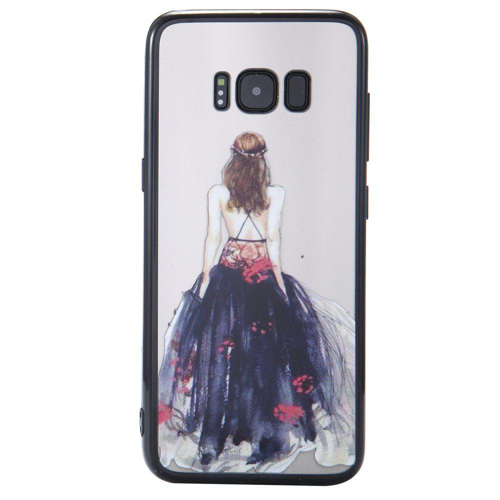 Case for Samsung Galaxy S8 Light Oil Embossed Back Dress Girl Pattern - BLACK
