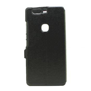 Cover Case for Huawei Honor V8 Slik Pattern Double Open Window Leather - BLACK