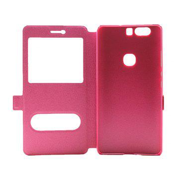 Cover Case for Huawei Honor V8 Slik Pattern Double Open Window Leather - ROSE RED