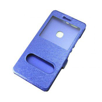 Cover Case for Huawei Honor V8 Slik Pattern Double Open Window Leather - BLUE