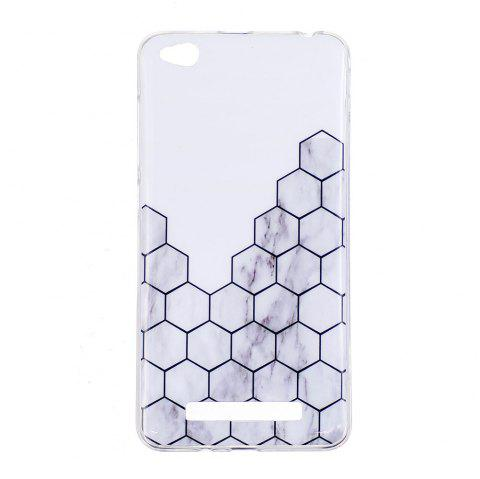 TPU Soft Case for Xiaomi Redmi 4A Cubic Marble Style Back Cover - WHITE