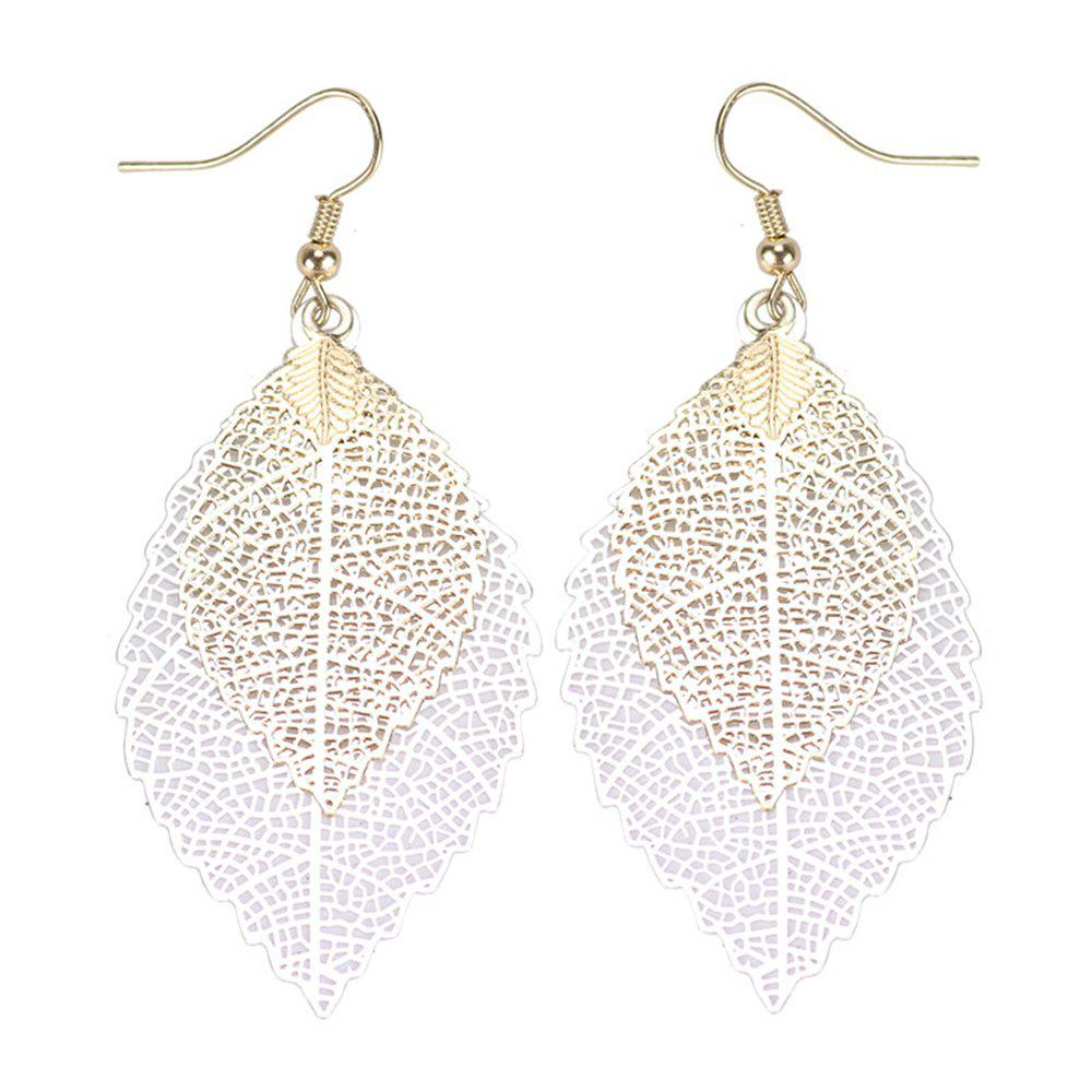 Women Girls Fashion Jewelry Hollow Leaves Pendant Metal Drop Earrings Fashion Jewelry - WHITE