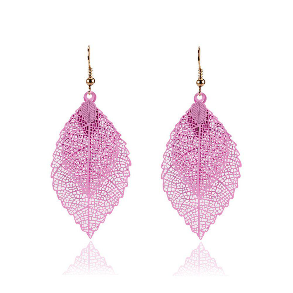 Women Girls Fashion Jewelry Hollow Leaves Pendant Metal Drop Earrings Fashion Jewelry - PINK